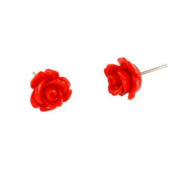 Small Red Rose Earring Posts
