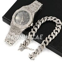 Hip Hop Iced Raonhazae Lab Diamond Drake Watch w/ 12mm Cuban Link Bracelet Set
