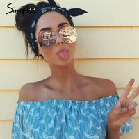 Simplee Retro sunglasses women 2017 Summer beach alloy sun glasses Fashion streetwaer sunglasses