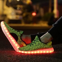 JustCreat 7 Colors LED Luminous Unisex Sneakers Men & Women USB Charging Light Colorful Glowing Leisure Flat Shoes Sprot Shoes,Green,7 D(M) US