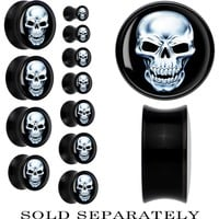 Black Acrylic Chrome Skull Saddle Plug