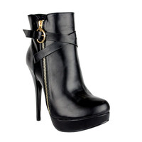 Womens Ankle Boots Strappy Buckle and Zipper Acce Sexy High Heels Black