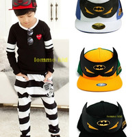Unisex Children Youngster Bat Wings Batman Baseball Cap with Wings Hip-Hop Adjustable SnapBack Casual Boys Girls Outdoor Traveling Sports Hats Cool = 1927817604