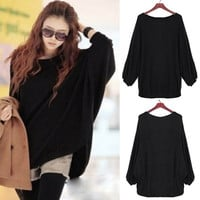 Women Plus Size Batwing Knit Sweater Loose Jumper Pullover Tops Knitwear Blouse F_F (Color: Black) = 1920090308