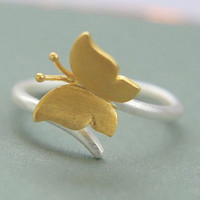 Andy Yellow Butterfly 925 Sterling Silver Ring