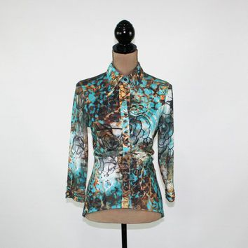 Boho Shirt Women Button Up Blouse Knit Top Ruched High Low Fitted 3/4 Sleeve Teal Brown Floral Abstract Top Boho Clothing Womens Clothing