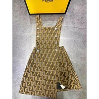 Fendi Popular New Button More Letter Slit Personality Straps Dress Women
