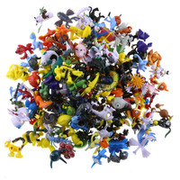 144Pcs 2-3CM Japan Movie Toys Mix Style New Cute Cartoon Monster  Toys Charizard Action Figure Pikachu Kids Toys