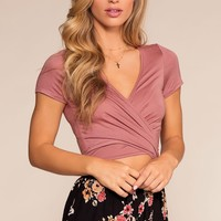 Here We Go Tie-Front Crop Top - Rose