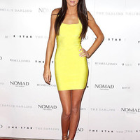 Yellow Halter Backless Bodycon Mini Dress