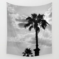 Palm Trees In Black And White Wall Tapestry by ARTbyJWP
