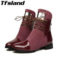 New Women Winter Sexy Flat Metal Martin Boots Sheet Luxury Suede Leather Patchwork Snow Boots Soft Walking Shoes Plus Size 5-11