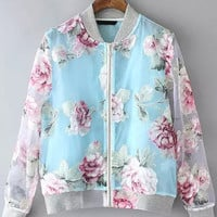 Blue Sheer Mesh Stand Collar Floral Varsity Jacket