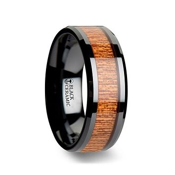 BENIN Black Ceramic Wedding Band with Polished Bevels and African Sapele Wood Inlay - 6mm - 10mm
