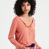 AE Soft & Sexy Ribbed Long Sleeve Henley T-Shirt, Rust