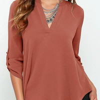 V Neck Blouse with Adjustable Sleeves