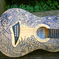 Acoustic Travel Guitar with Hand Drawn Design on Body