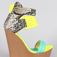Neon Colorblock Snake Quilted Open Toe Platform Wedge