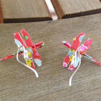 Origami Dragonfly Earrings, Dragonfly Jewelry, Cute Red Earrings, Red Dangle, Whimsical Earrings, Colorful Jewelry, Colorful Earring