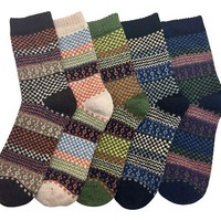 ONETOW LuluVin Women's Vintage Style Casual Knit Crew Socks - 5 Pairs