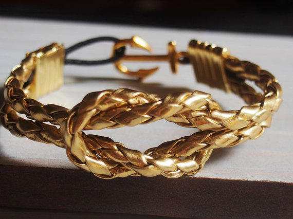 Gold Nautical Bracelet Men Anchor
