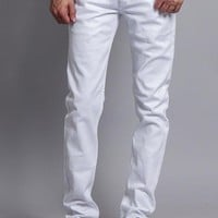 Men's Skinny Fit Colored Jeans (White)