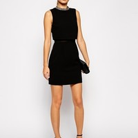 ASOS TALL Embellished Stand Collar Dress