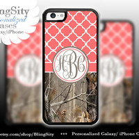 Monogram Iphone 5C case iPhone 5s  iPhone 4 case Ipod 4 5 Touch case Real Tree Camo Coral Quatrefoil Personalized Country Girl
