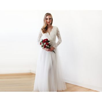 Ivory Tulle and Lace Long Sleeve Wedding Maxi Dress 1125
