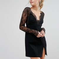 Stylestalker Lace Sleeve Plunge Mini Dress at asos.com