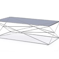 Modrest Laser Contemporary Smoked Glass Coffee Table