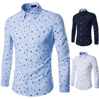 Mens Slim Trendy Scattered Stars Dress Shirt