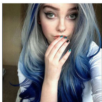 Natural look premium wave mix color 2T ombre black blue synthetic wig