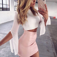 The new fashion wild stitching tight package hip leather skirt