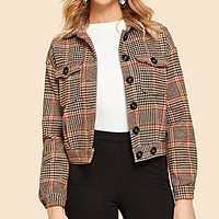 Multicolor Flap Pocket Front Houndstooth Utility Jacket Women Crop Coat Buttoned Long Sleeve Casual Jackets