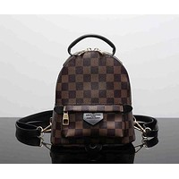 LV Louis Vuitton Fashion Women Print Shoulder Bag Bookbag Backpack School Bag Tartan I