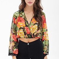 FOREVER 21 Floral Surplice Chiffon Top Black/Coral Large