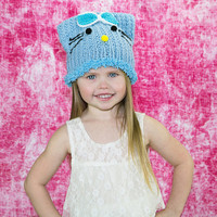 Ear hat, kitty hat, kitty beanie, hello kitty hat, kids cat hat, girly hat, animal hats, fun beanies, toddler knit hat, baby blue cap