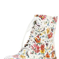 Nature Breeze Gwen-02hi Red Floral Patent Lace Up Vintage Floral Combat Boots and Shop Boots at MakeMeChic.com