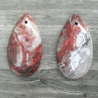 Mexican Crazy Lace Agate Teardrop Pendant Beads,   multi colored, your choice of 2,  polished and drilled, semi precious, Laughter stone