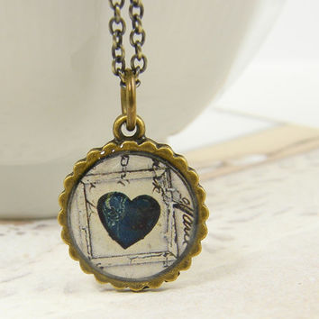 Small Heart Necklace - Navy Blue Heart Collage Art Rustic Pendant Necklace