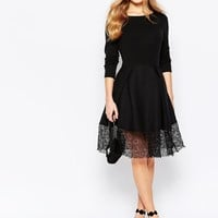Traffic People Hepburn Dress With Lace Hem at asos.com
