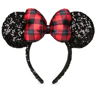 Minnie Mouse Sequined Ear Headband - Holiday Plaid | Disney Store