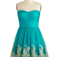 ModCloth Mid-length Strapless A-line Fabled Fanfare Dress