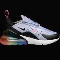 NIKE AIR MAX 270 Rear air cushion purple black powder Gym shoes