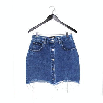 button up denim mini skirt early 90s GRUNGE button down distressed stone wash jean skirt size 8