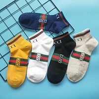 GG men's and women's cotton deodorant socks all-match sports and leisure five pairs