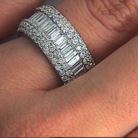 9.80ct Baguettes and Round Diamonds Eternity Wedding Ring Band Anniversary JEWELFORME BLUE