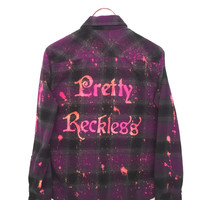 Pretty Reckless Shirt in Purple Plaid Flannel