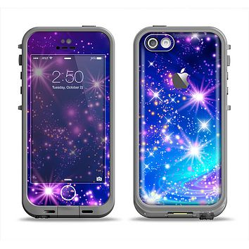 The Glowing Pink & Blue Starry Orbit Apple iPhone 5c LifeProof Fre Case Skin Set